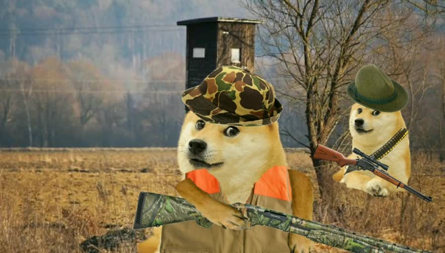 Hunting. .. Wow, so funny, doge photoshopped hunting with classic Christian song