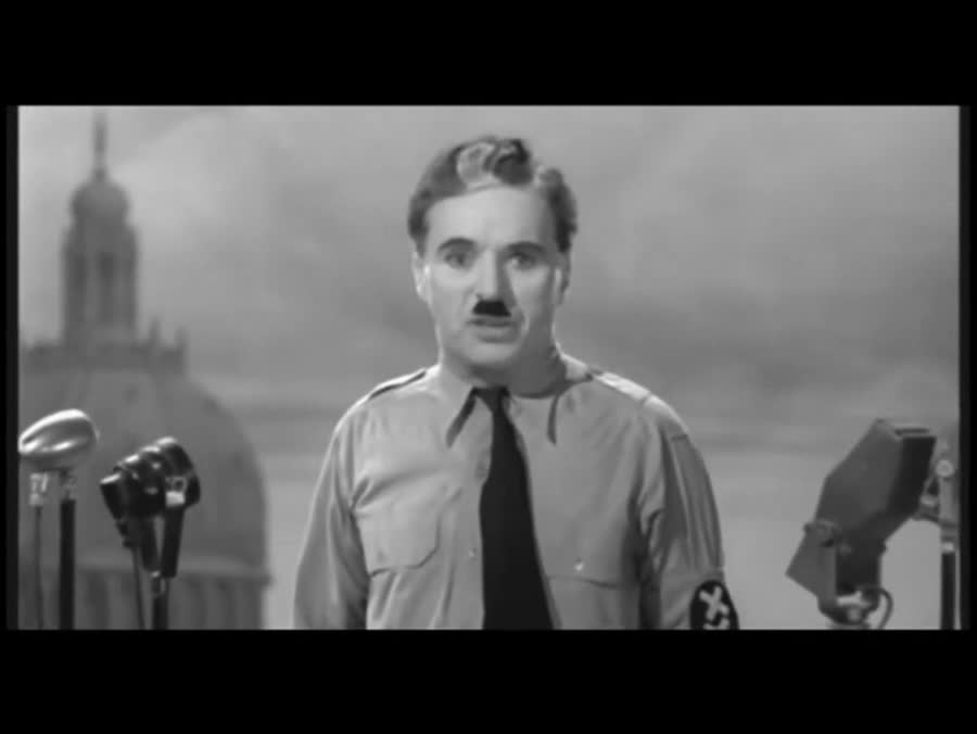 The Great Dictator. .. I'm glad you added the last 50 seconds. Every time I watched this video they always cutout at the crowd cheering part, so I've never seen that ending before. Th
