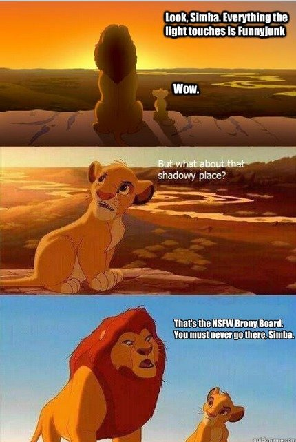 Bronies. . light lunches is In mun I. I think simba should be more concerned with the furry board...