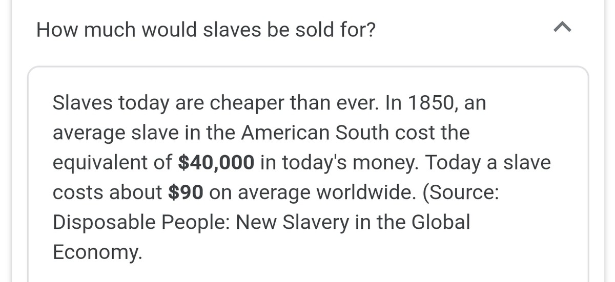 economy these day eh?. .. Makes sense: Higher supply with overpopulation, lower demand with anti-slavery laws. Basic economicsComment edited at .