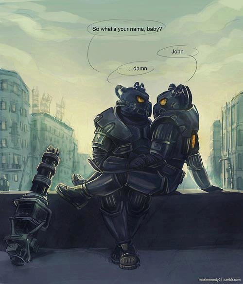 the Enclave. Gently. It's not gay if you're both wearing power armor helmets. As long as neither of you have Confirmed Bachelor, you don't have to say no homo..