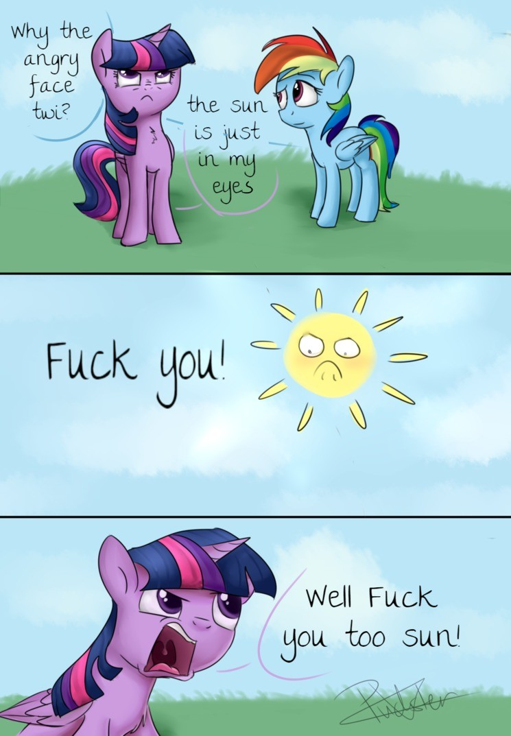 the sun. .. You know what, she could win this fight. Celestia may be the official keeper of the Sun but any alicorn has the power to move it if they know how. Twilight: OH