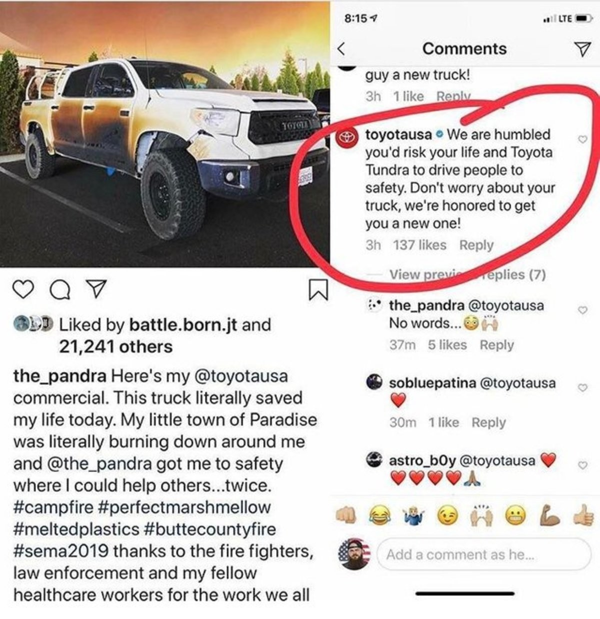 1229. .. Big deal, he got burned his car a little and now he gets a new truck. Some people have the best luck. This is so unfair.
