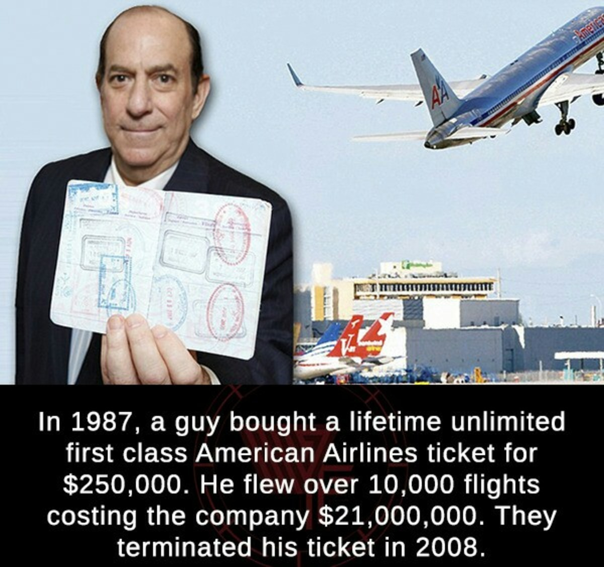 1987 American Airlines ticket. .. >lifetime ticket >they terminated it they killed that man didn't they