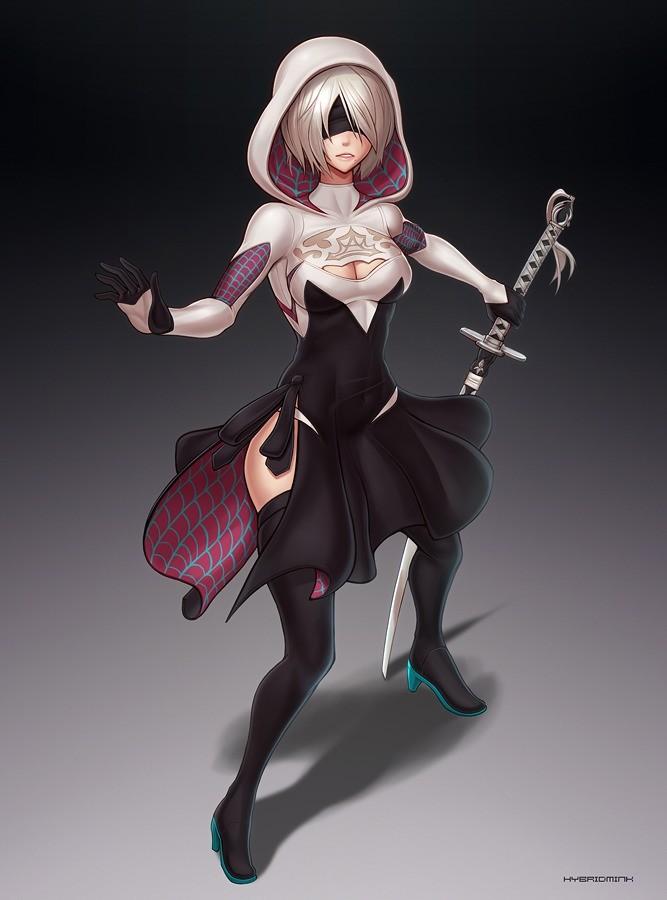 2B/Spider-Gwen. https://www.deviantart.com/hybridmink/art/2B-Spider-Gwen-outfit-793883302.. Slightly confusing, but I'm 100% on board