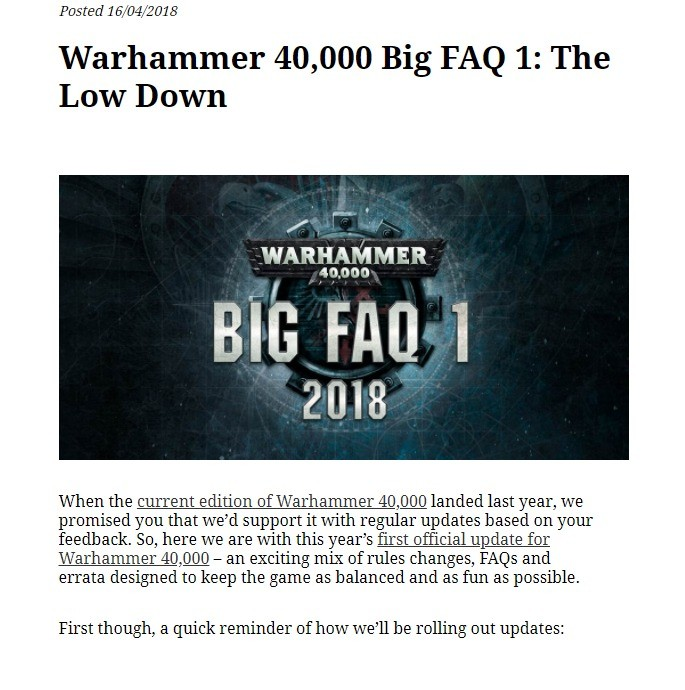 40K Big FAQ 1. . Pas ted f 6/ s Warhammer 40, 000 Big FAQ I: The Low Down l' lait WARM. -AYMER. are mu 1 2013 When the current edition cf Warhammer , ( i) lande