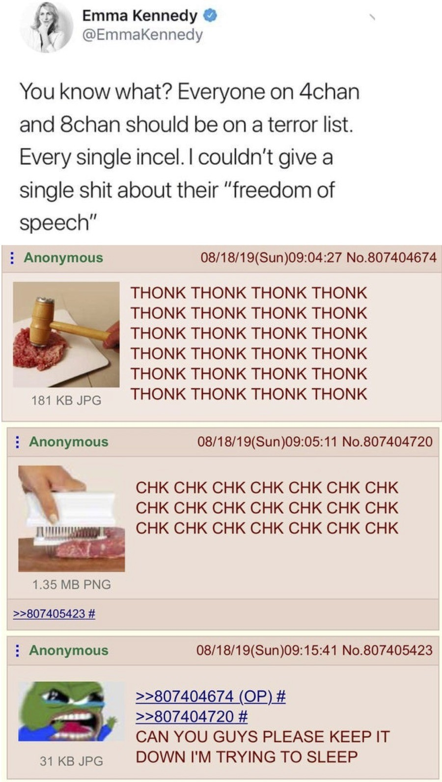 4chan. .. Yes, lets not care about peoples rights, thats a great idea. What? what do you mean stop assaulting you? You see, I don't give a single about your 'women's righ