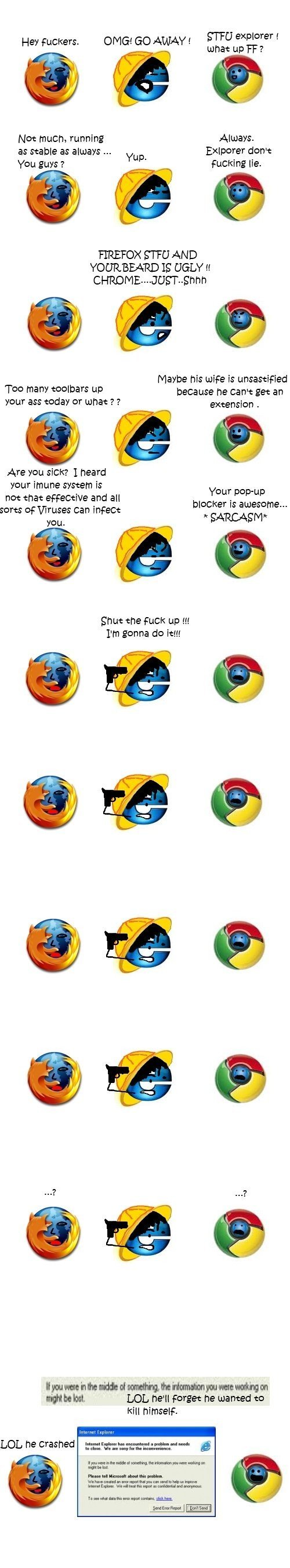 A day in the life of Internet Explorer. no matter how hard they try, they will never be able to repair IE's bad reputation. GITU explorer E es bercers. H F what