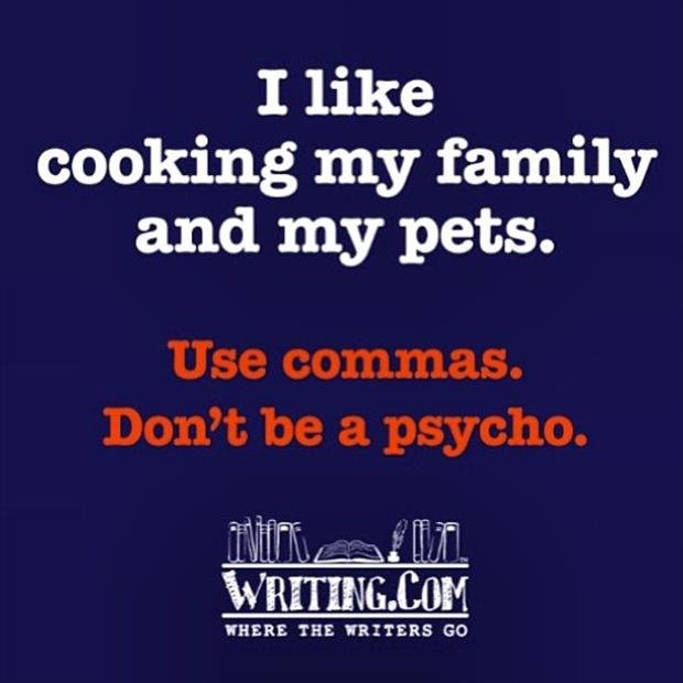 A single comma can change everything. . I like cooking my family and ' pets. att THE WRITERS GO. I think that sentence is a bad sentence commas or not. It needs a few words changed around because it makes you think someone likes to cook their family and pet