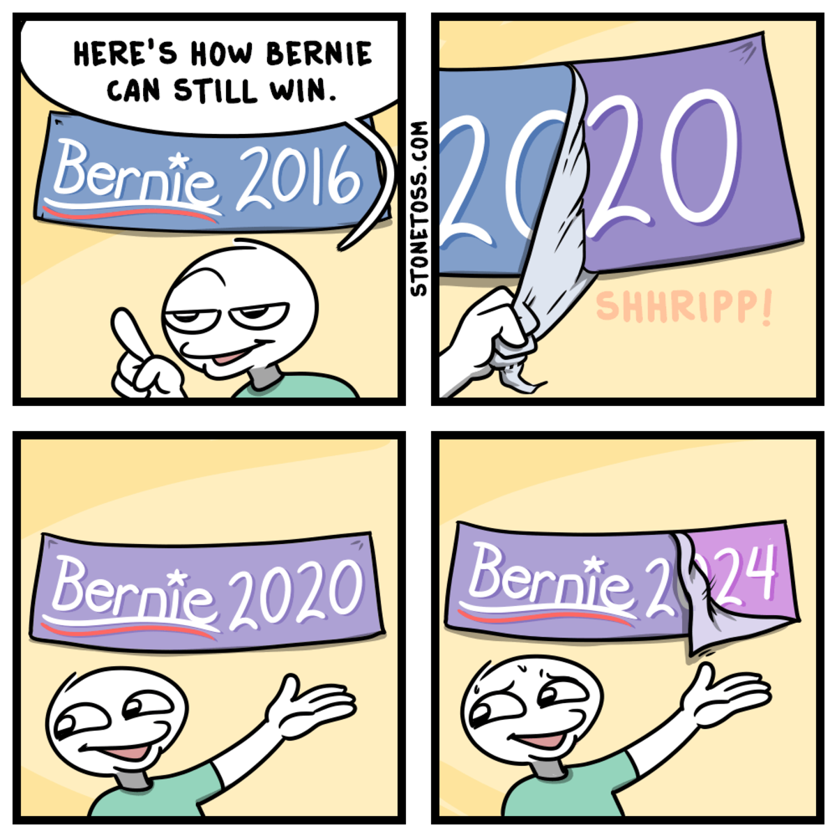 A Slow Bern. .. > Bernie will still be alive in 2024. He's ancient. Also, this comic is has no punchline.