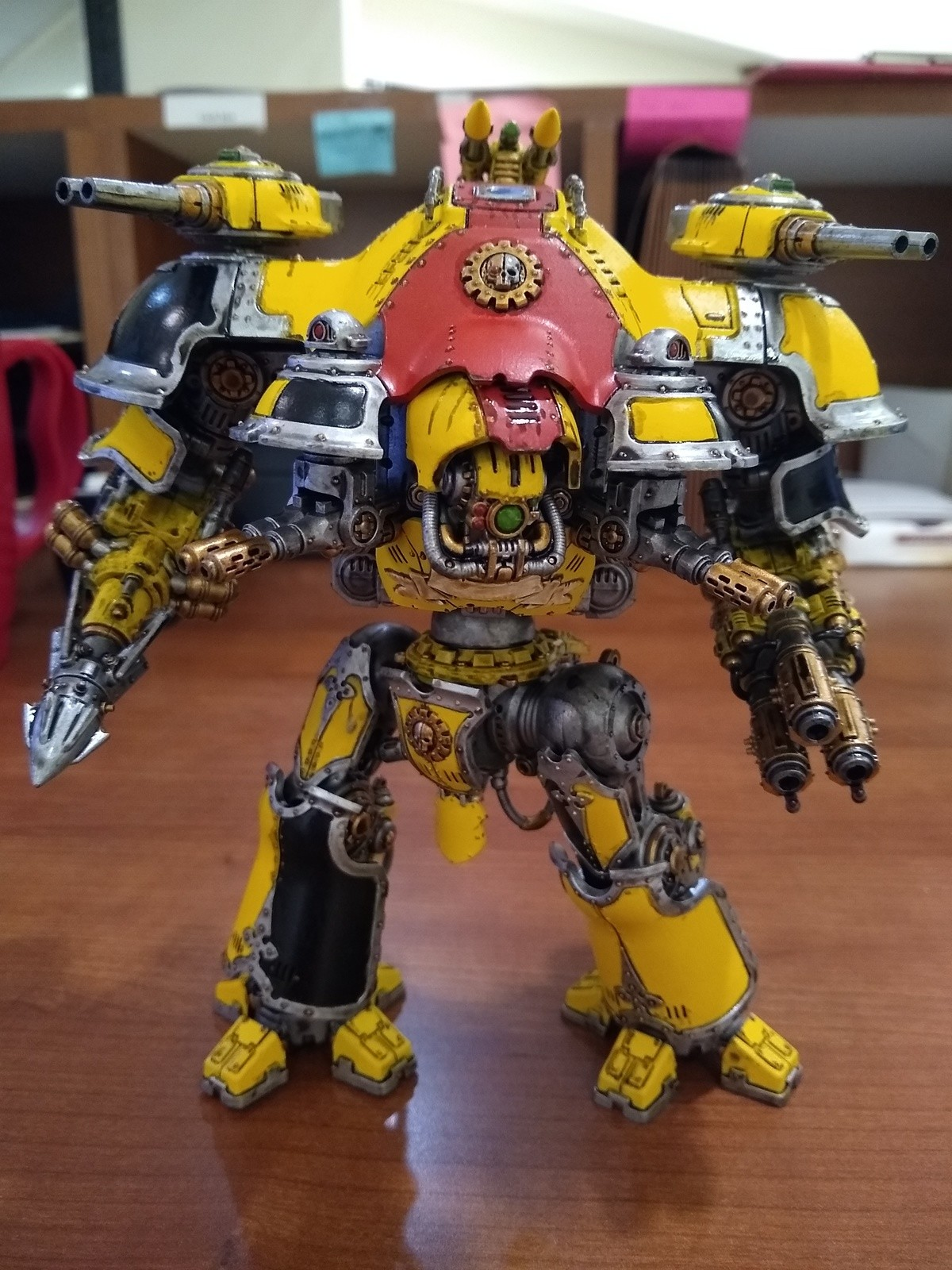 A valiant effort. Yellow is a bitch and a half to paint. I still have most of a mecanicus army to paint this way. Why do I do this to myself..... Effort my ass, that's damn good for yellow. I usually just give up and stick with Averland sunset - not quite as vibrant, but I'll be damned if it's not the onl
