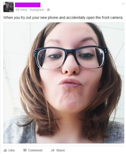 """""""Accidentally"""". . Ill gamins When you try out your new phone and accedentally open the front camera- Like ' Comment """" Show. So your always making that dumbass face?"""