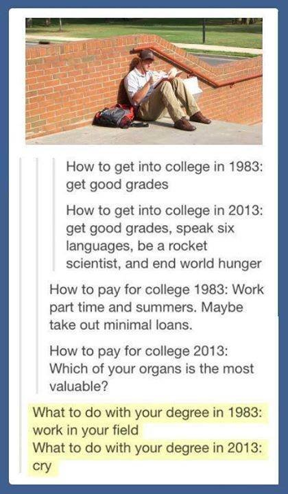 accurate post. . How to get into college in 1983: get good grades How to get into college in 2013: get good grades, speak six languages, be a rocket scientist,