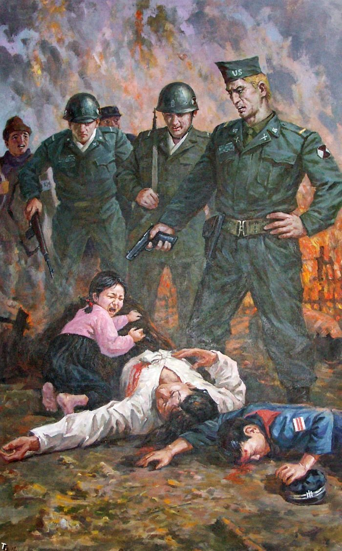 Actual North Korean Poster. Apperrantly we still wear WW2 uniforms and work for umbrella... You see Korean Propaganda. I see more proof that Nicholas Cage is immortal.