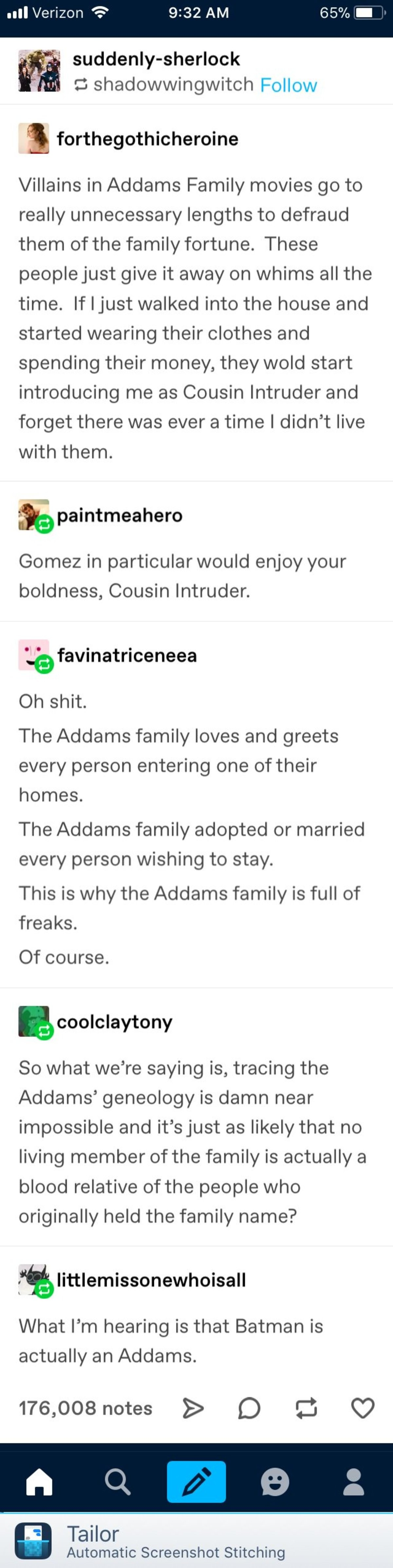 Addams. .. the idea that a good chunk of the Addams family are just people that caught the interest of Gomez and Morticia makes me happy