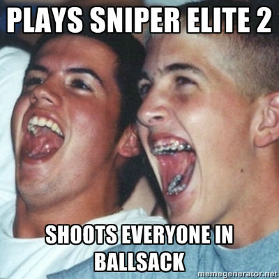 Admit it, you've done it!. This was the first thing I did (ACCIDENTALLY) in the game.. HAYS SNIPER ' I' E 2