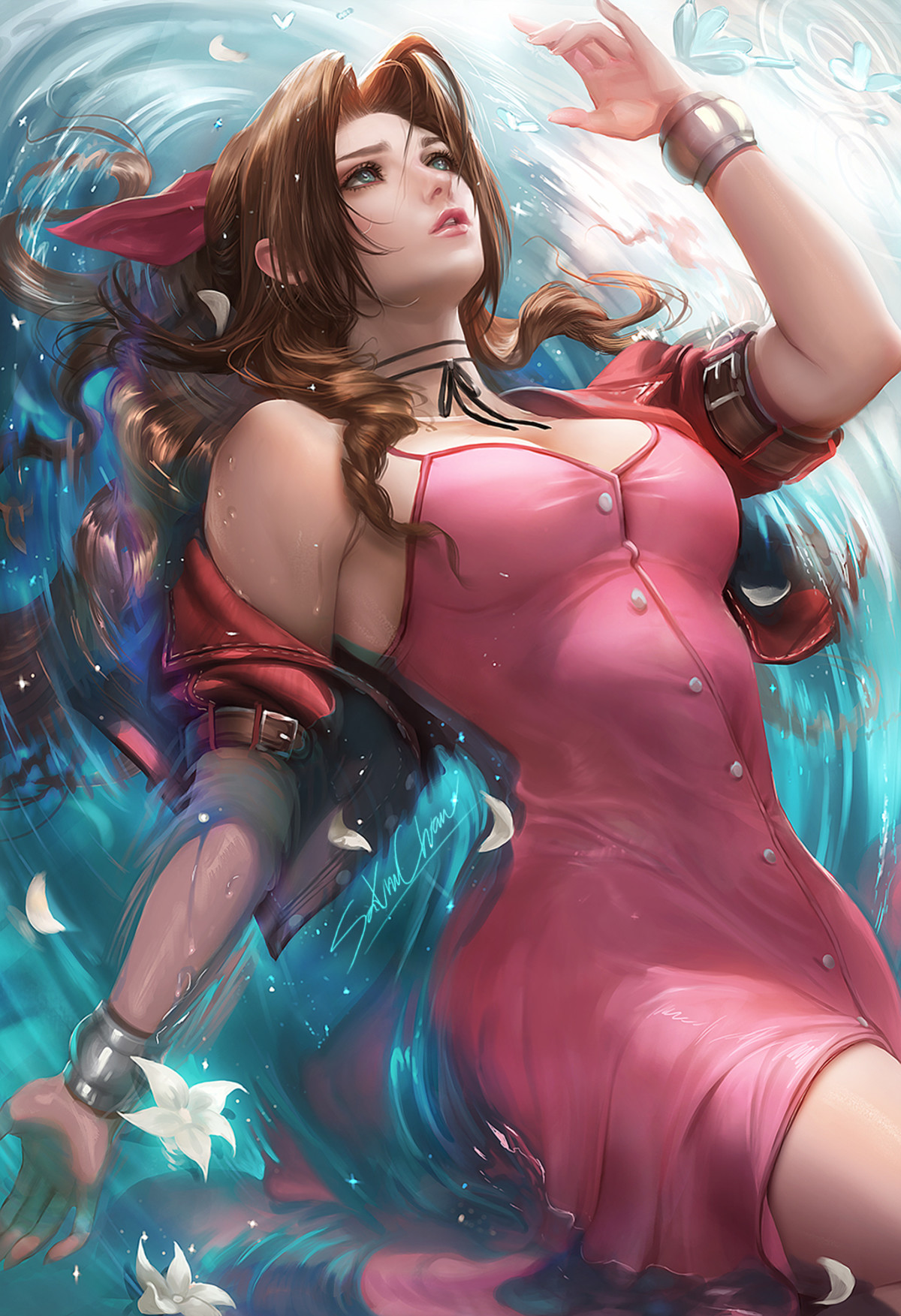 Aerith by Sakimichan. .. she seems to be missing a hole...