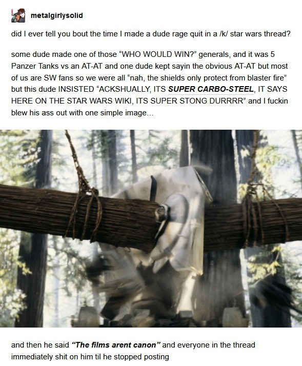 alleged weak Human. .. I always figured that happed due to endor most likely having a high gravity causing those trees to grow super dense and ewoks super strong