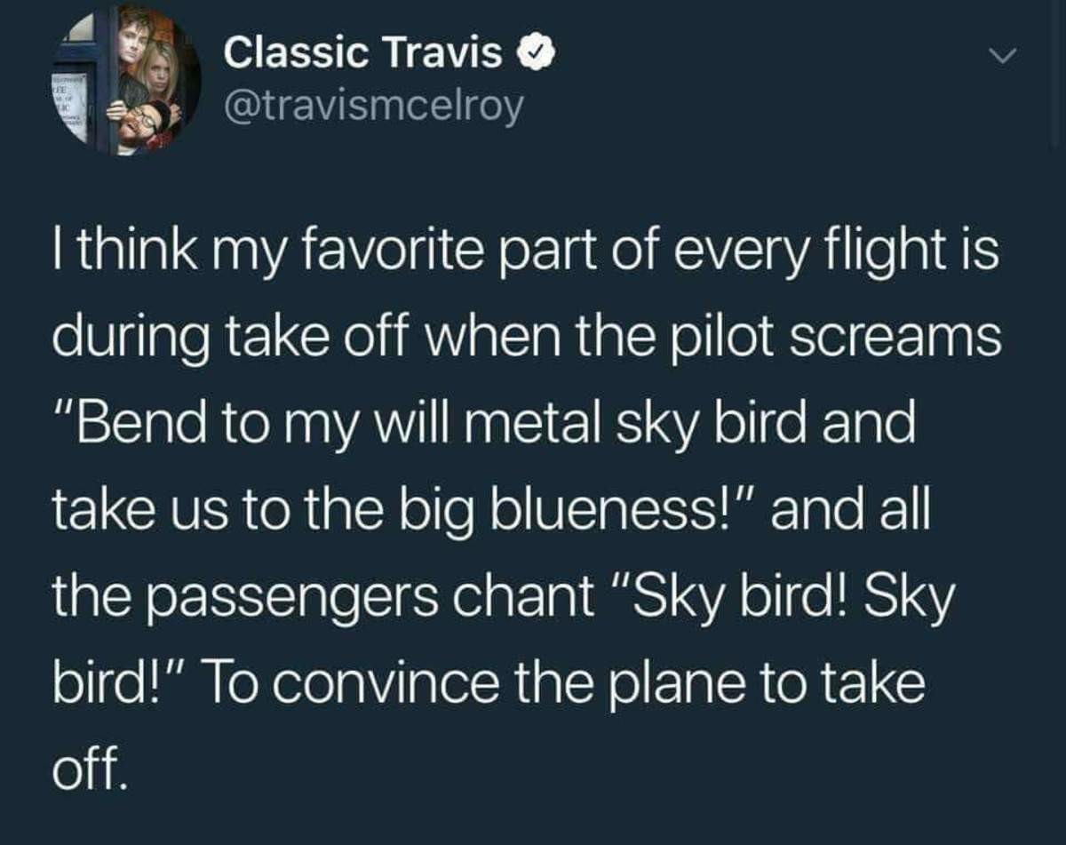Almighty skybird. Maybe OP, not OC.. I didn't chant on my last flight and the plane almost crashed My family is still paying off the fine