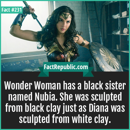 Amazing knowledge dose.... . Ill wonder woman has a black sister named Nubia. She was sculpted from black day just as Diana was sculpted from white day,. The spirit of a hero lives on