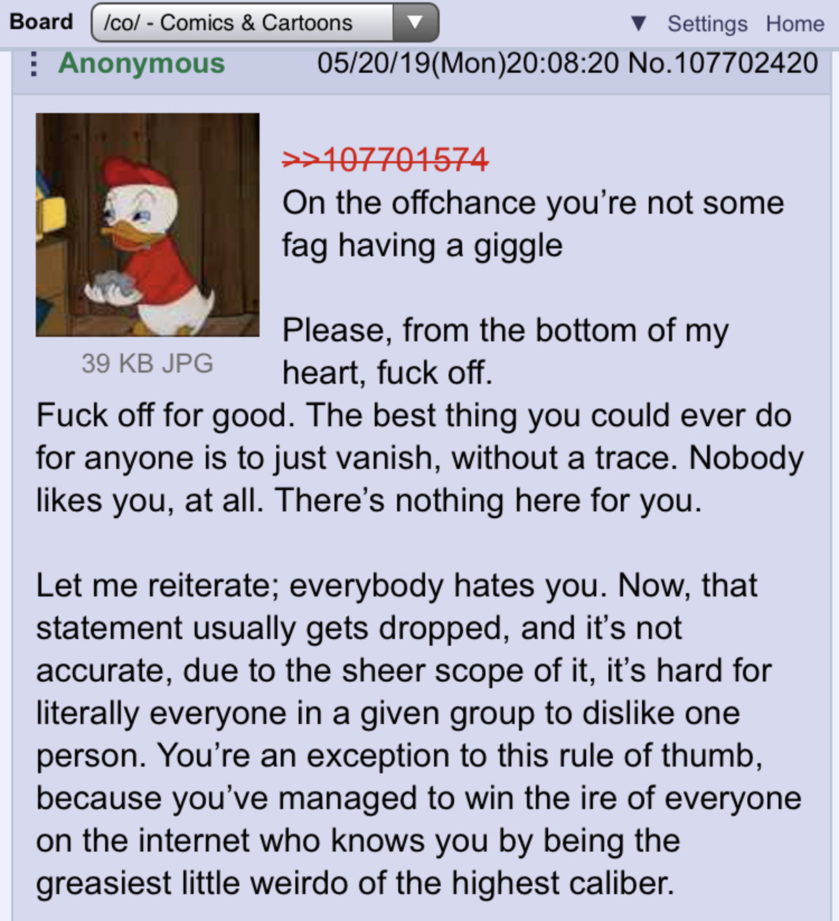 Anon Chews Out He Who Shall Not Be Named. The bread deforrestation guy rears his head in a /co/ thread that had literally nothing to do with him, and anon gets