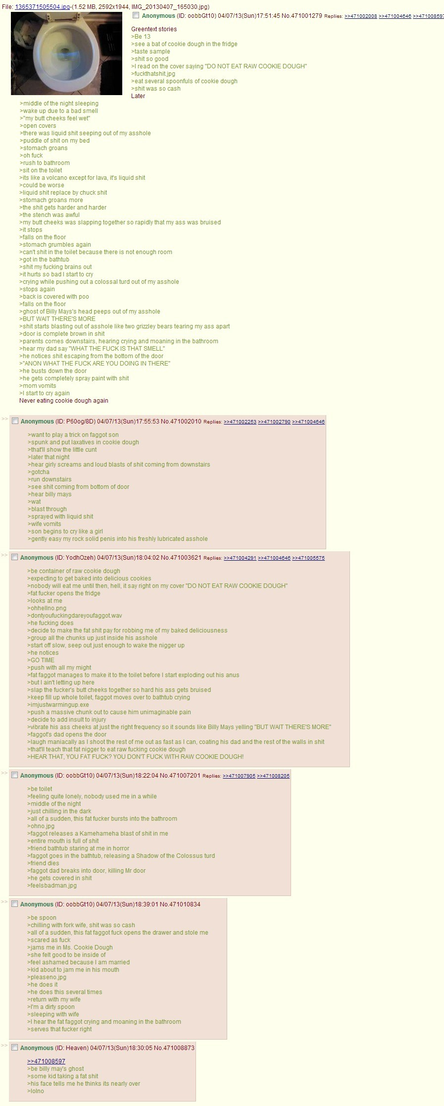 Anon eats cookie dough. Thanks to brantod for bringing to my knowledge this gem.. We 1365371505504 em 52 , _ 20130407_ Anonymous an Rams Greentext stones me 13