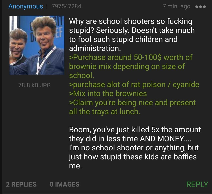 Anon fixes School Shooter Problem. .. All the other kids with their pumped up kicks