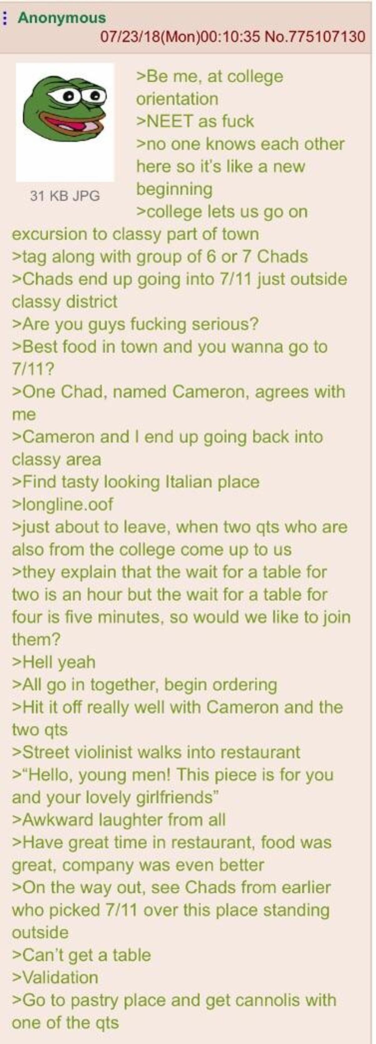Anon meets Chad. .. And then he got back, and no one wants to talk to him anymore.