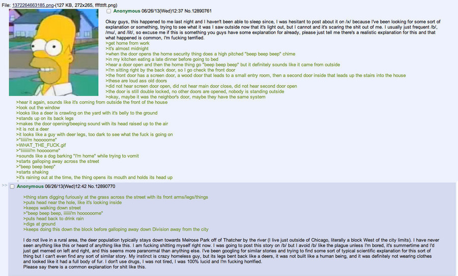 Anon sees the Deerman. join list: EchsaDumps (412 subs)Mention History.. Illinois, I'm pretty sure, is quite the breeding ground for the Goatman/men, as there have been multiple sightings of this phenomenon.