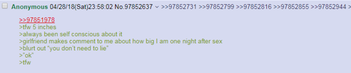 Anon tells girlfriend she doesn't have to lie anymore. . am 5 inches aalways been self conscious about it sgirlfriend makes comment to me about how big I am one
