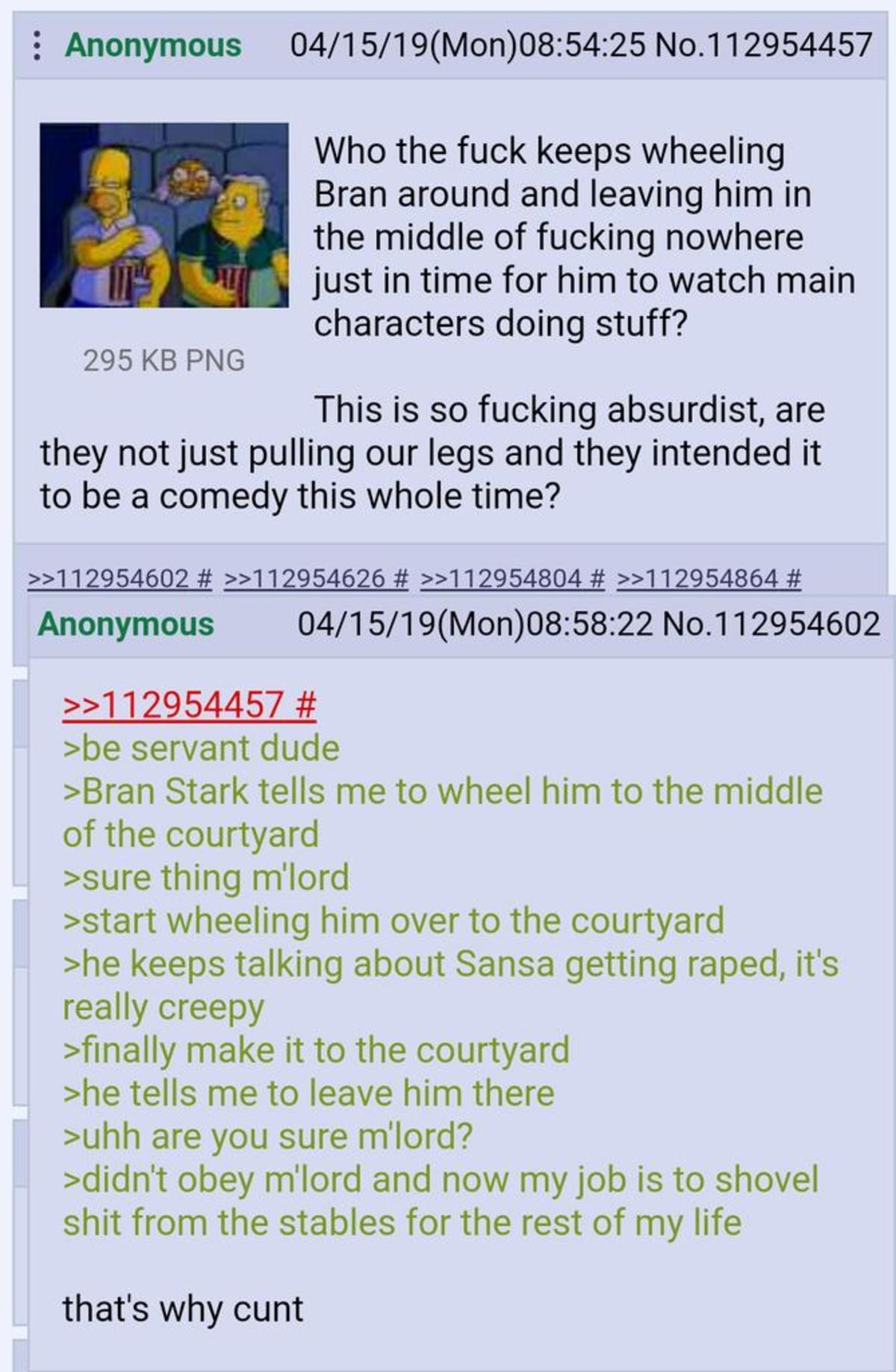 Anon watched GoT. .. Jamie's gonna be his new attendant/manservant thing, I'm hoping, as a sort of redemption