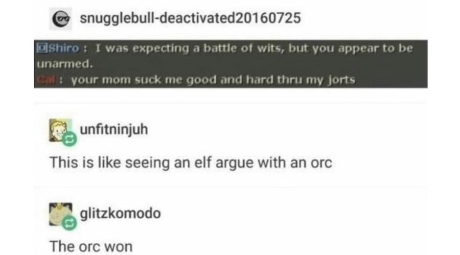 Argue. .. His jorts hahaha