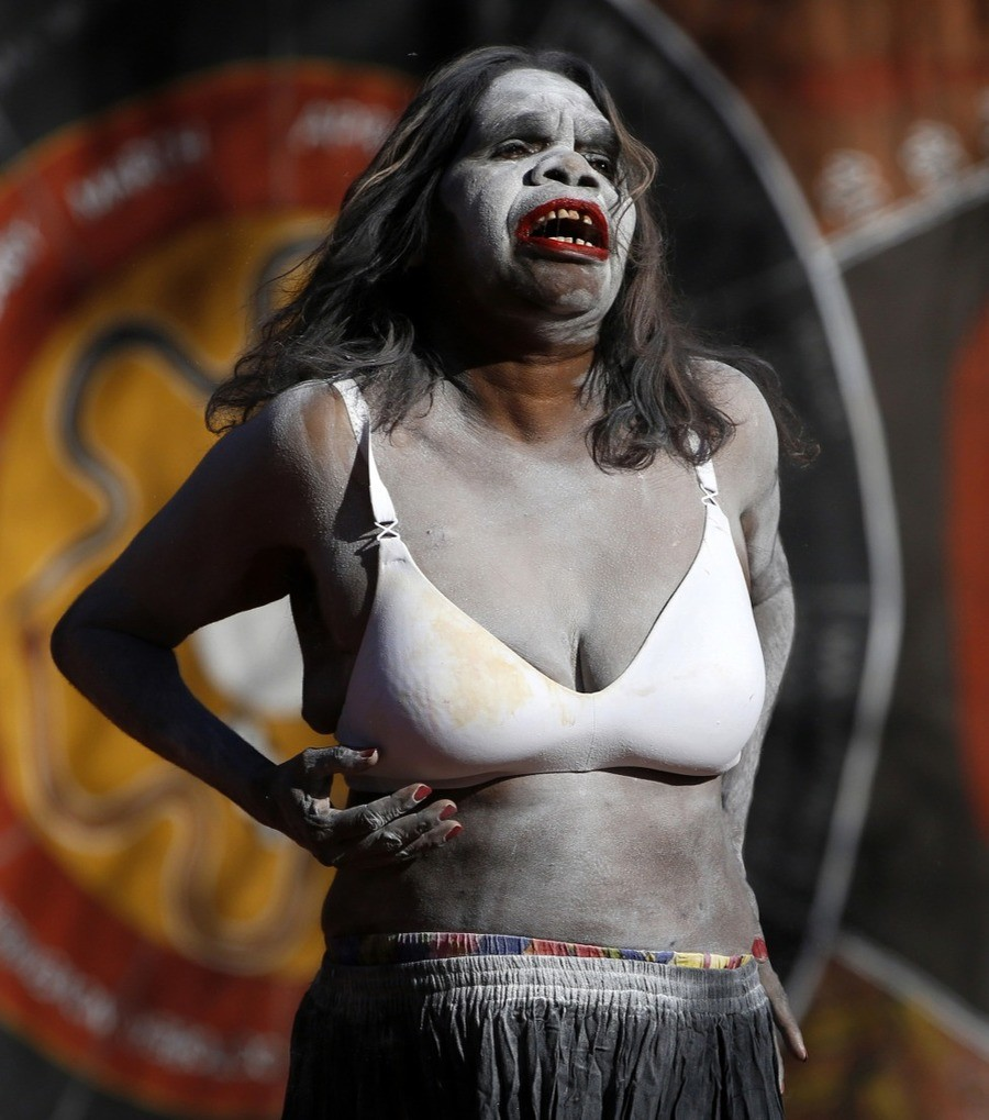 Australian icon. Which photo represents the real Australia for you? Abo singing lady croc Dundee Vote! (View results) .. hell. I thought the first picture was an actor in makeup playing a zombie.
