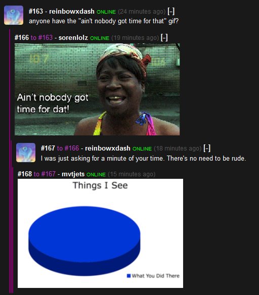 """Awe . Oh goodness I seem to have screen capped some comments. Deary me. . iid, filleh) m? have the """"stint nobody got time forthat"""" gif? Ain' t nobody got time f"""