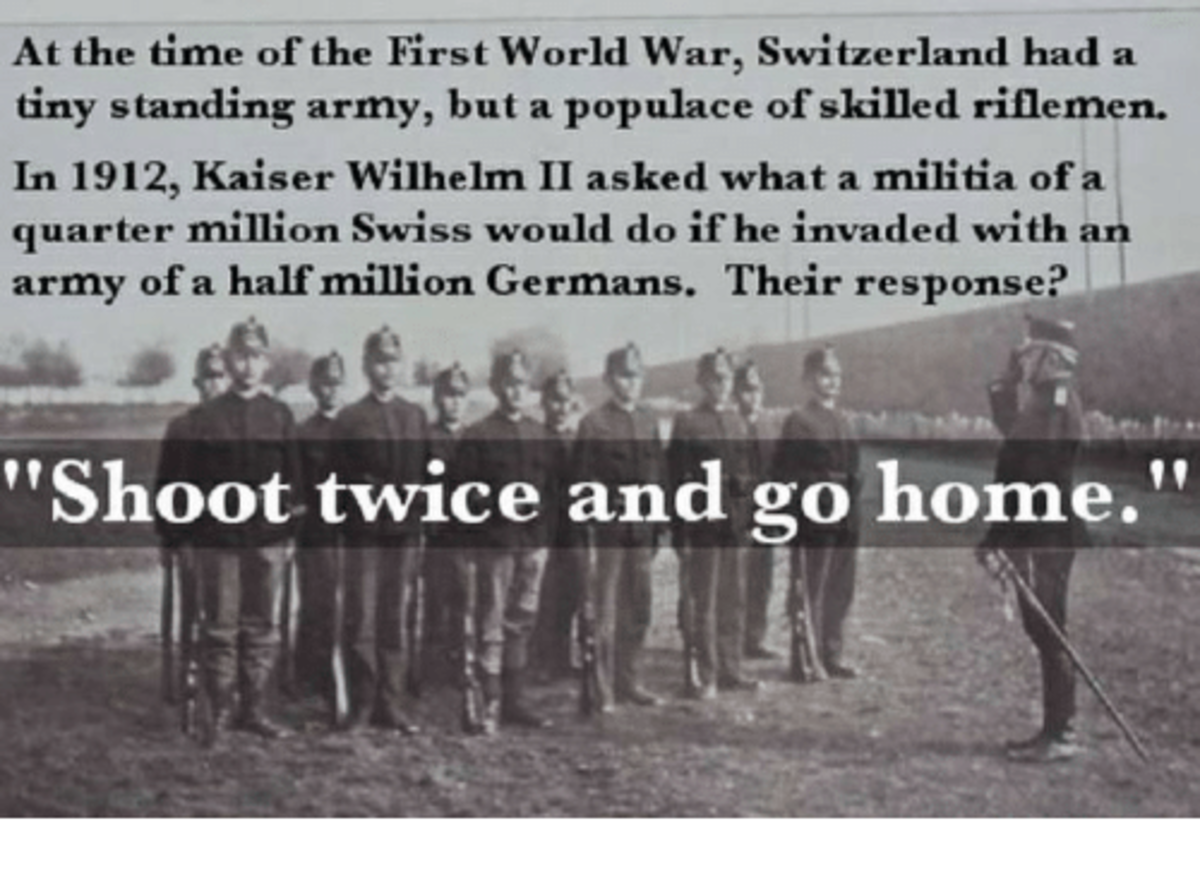 Badass One Liner. Swiss Geez... Imagine invading usa. It... would be so hard. Even if you manage to nuke most important cities and armies. Still there's so many to kill, and all of them are we