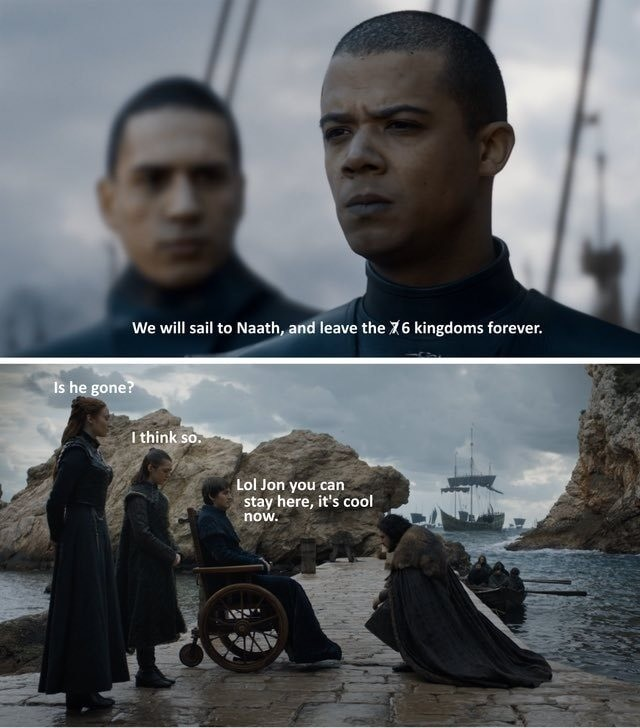 barbarous sturdy confused Eland. .. Maybe I missed it, but what happened to all the dothraki in the end? Grey Worm was left in charge of all Dany's forces, but no one in their right mind would bri