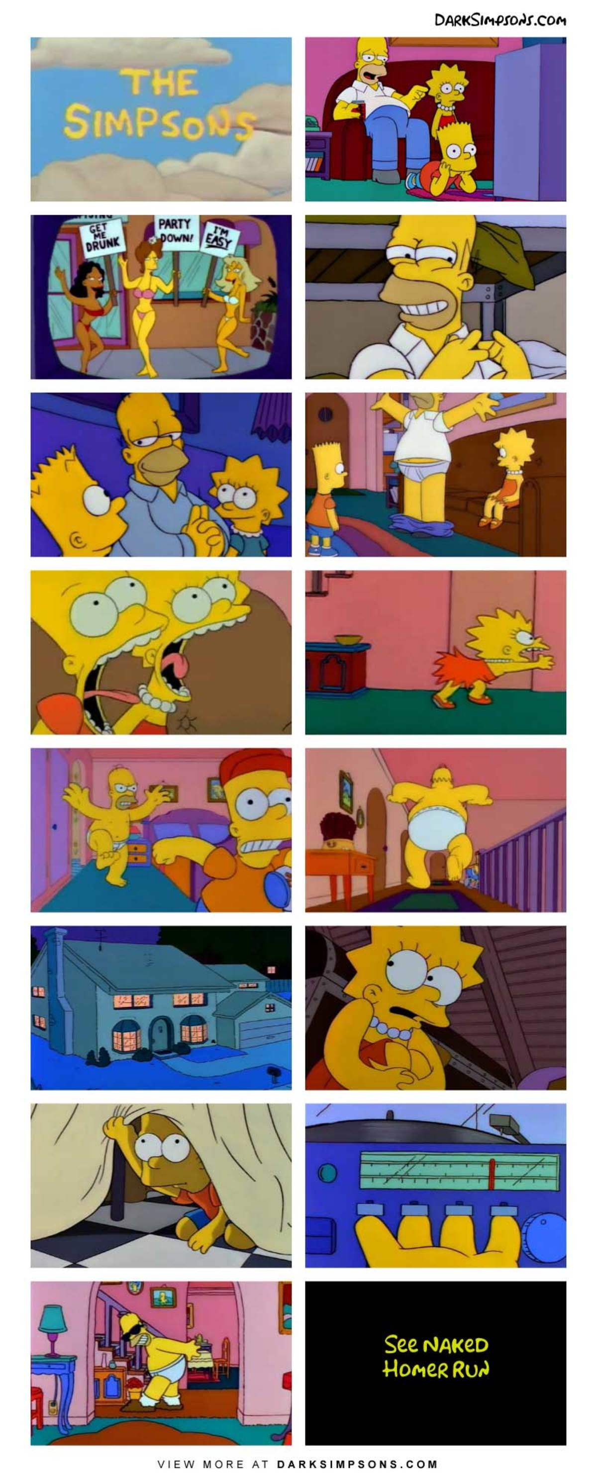 Bart: Kiss you? But Dad, I'm your kid!. . See N/ men Home Ruy. Read that as se naked homerun.