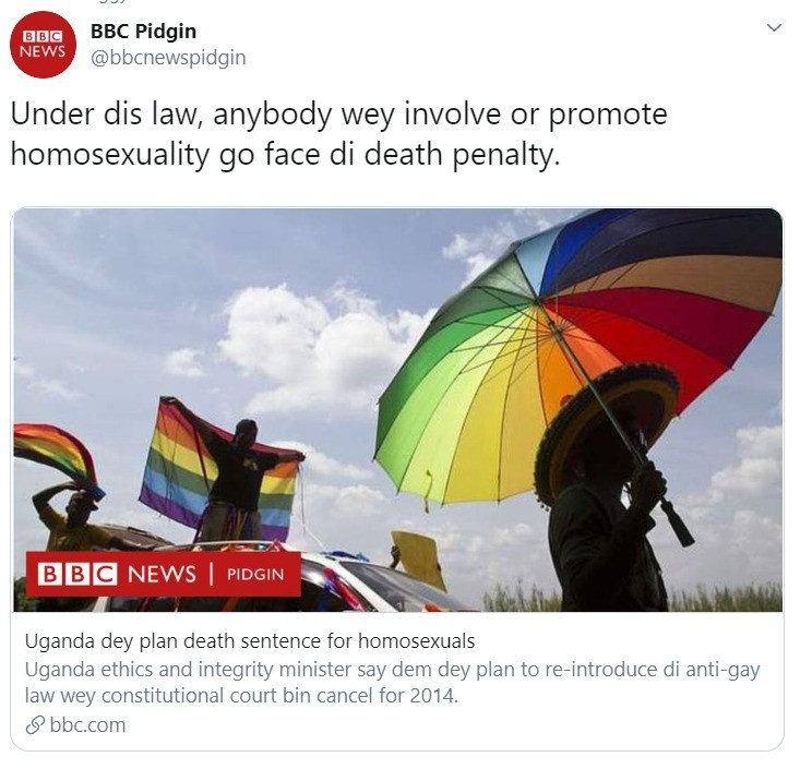 BBC knows de wey. BBC Pidgin>>>>>>>>>>>>>>>>>>>>>>>>>>>Regular BBC.. I.... I thought this was a joke.... https://www.google.com/amp/s/www.bbc.com/pidgin.amp
