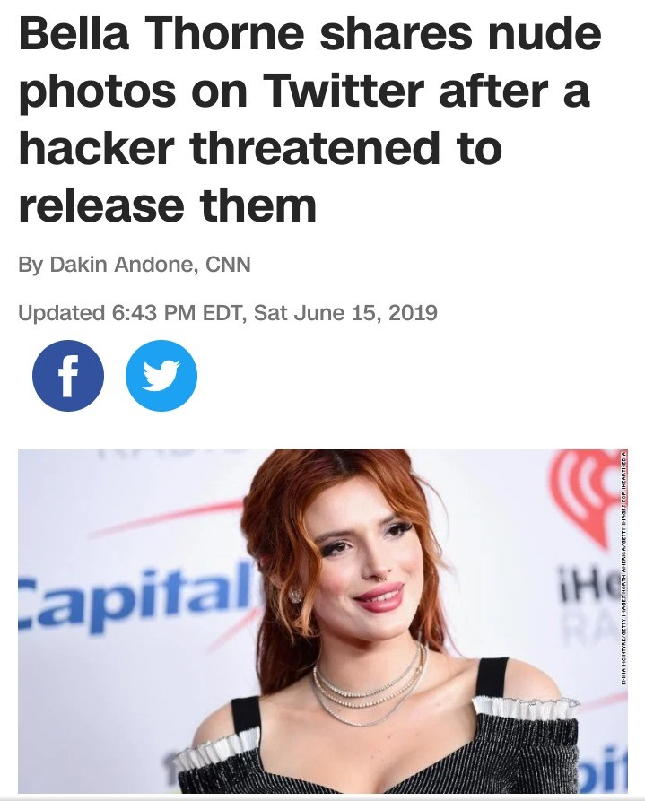 Bella Thorn nudes (its sfw). https://mobile.twitter.com/bellathorne/status/1139910342711099393 Link for yall.. Damn, she just straight up killed the hostage to take away the kidnapper's leverage.