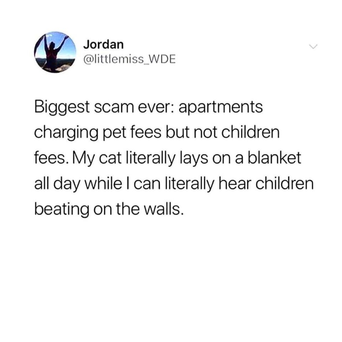 Biggest Scam. .. Child fees are illegal ...only the government can charge you for being a parent (apparently). That said, pet fees shouldn't exist either, unless you bring a pet