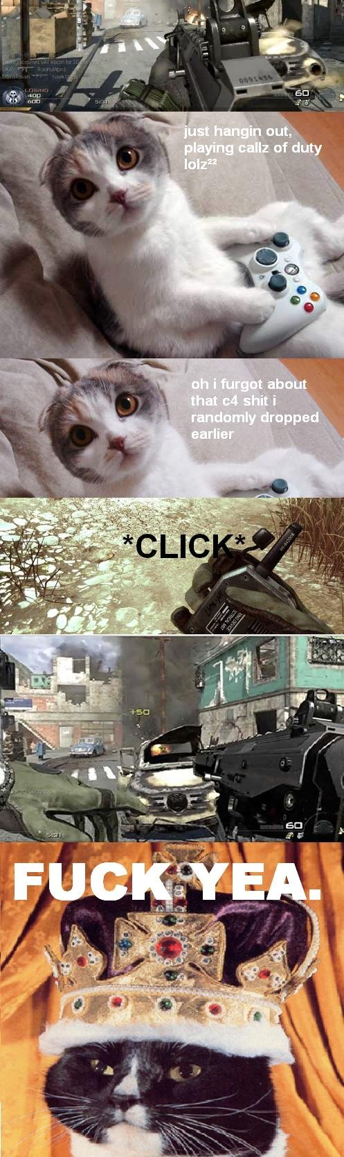 yea cat; c4 kill. lolcat plays cod... it would of been less fake if on the screen where it shows him getting +50 their wasnt a little FRAG GRENADE symbol instead of a C4 symbol!