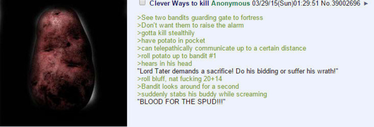 Blood for the spud. join list: Chanoholic (315 subs)Mention History.. The Irish Assassin