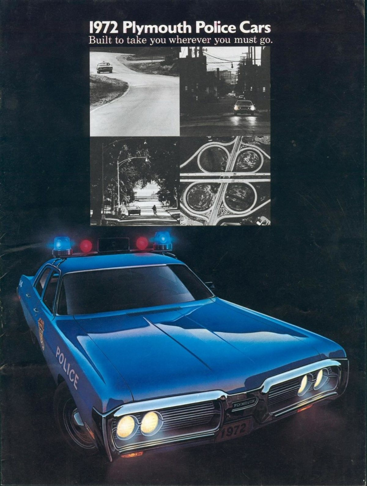 Brochure for Plymouth police cars - 1972. Back in that simple nostalgic era filled with assassinations, firebombings, and civil unrest, companies used to send b