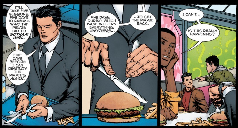 Bruce Wayne is a monster. .. He's holding the fork like a pen, he's doing it to spite the kid.
