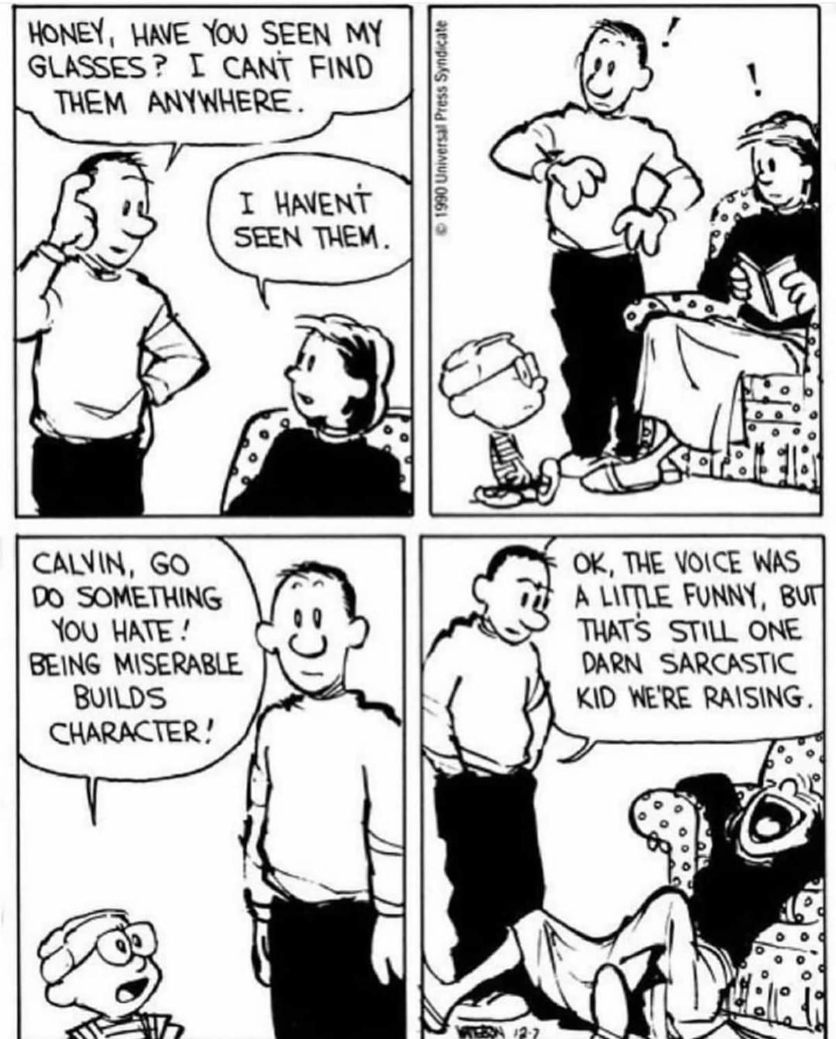 """Calvin. .. I really like that last panel, there's no """"haha"""" or words or anything. Yet by her position alone, you know exactly how hard she's laughing"""