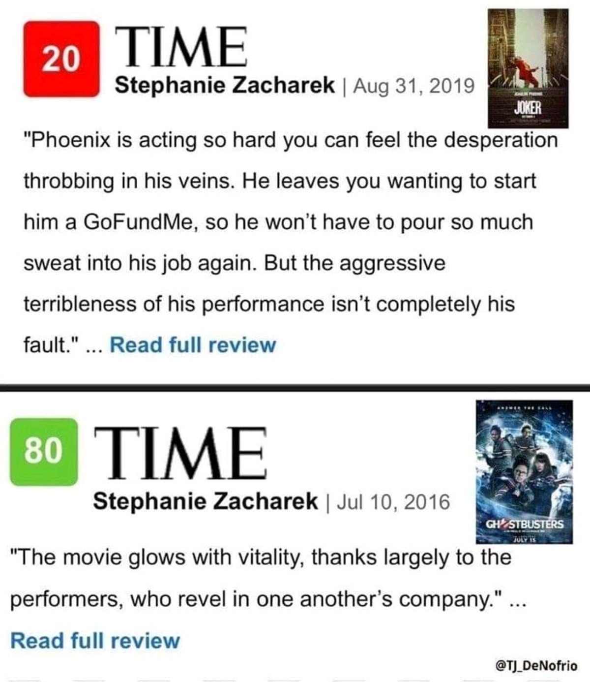 """Can't wait to see joker. .. Now you shouldn't bother with """"professional critics"""" anyway, but if you see them giving a good review to Ghostbusters 2016 then you can safely ignore"""