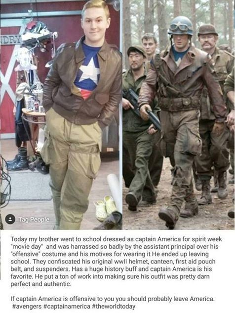 Captain America. . Teddy my Nether went heel dressed as captain America fer spirit week movie day' and was harassed ' badly by the assistant principal ever his