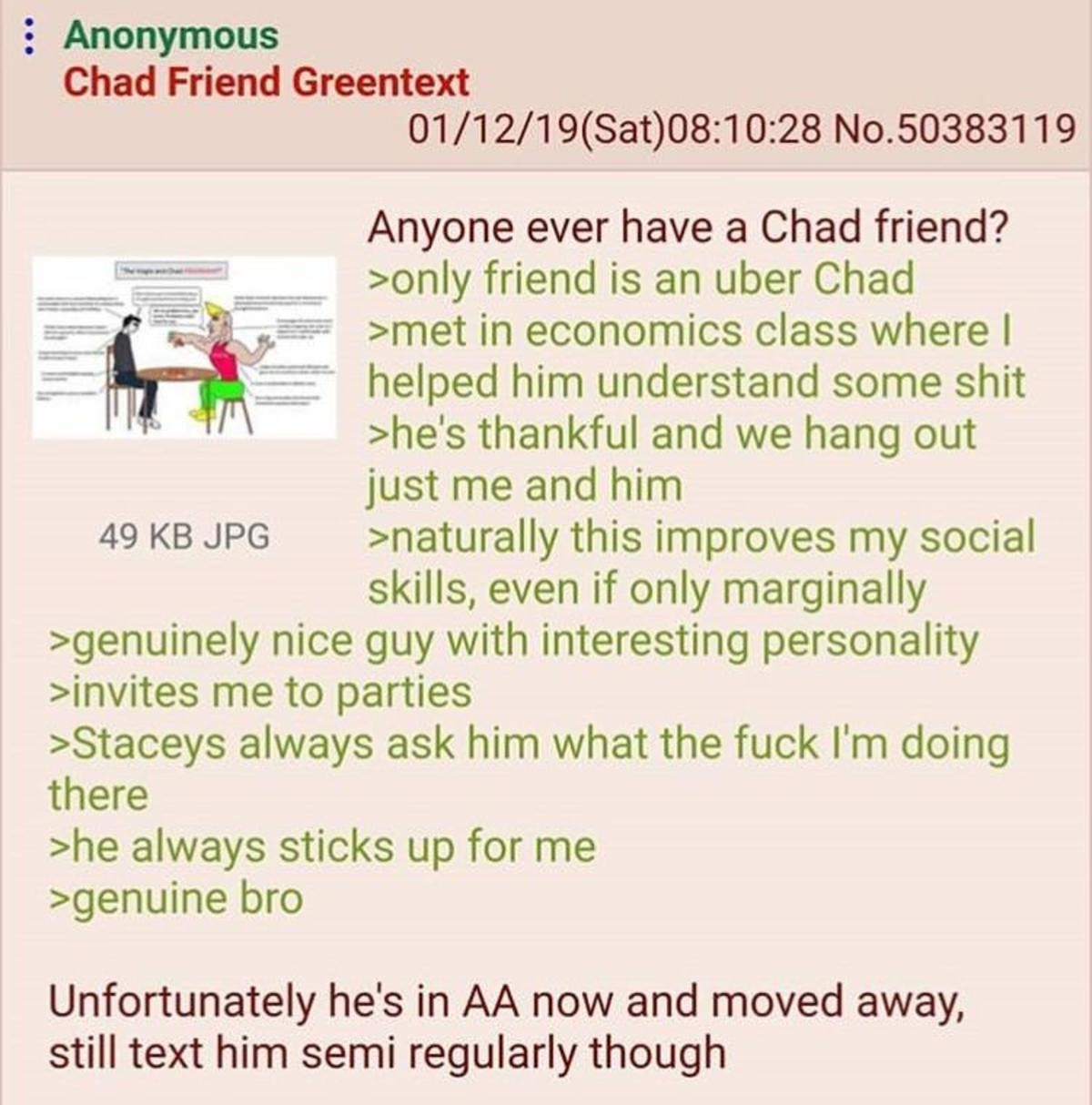 Chad is a Bro. .. What does AA mean?