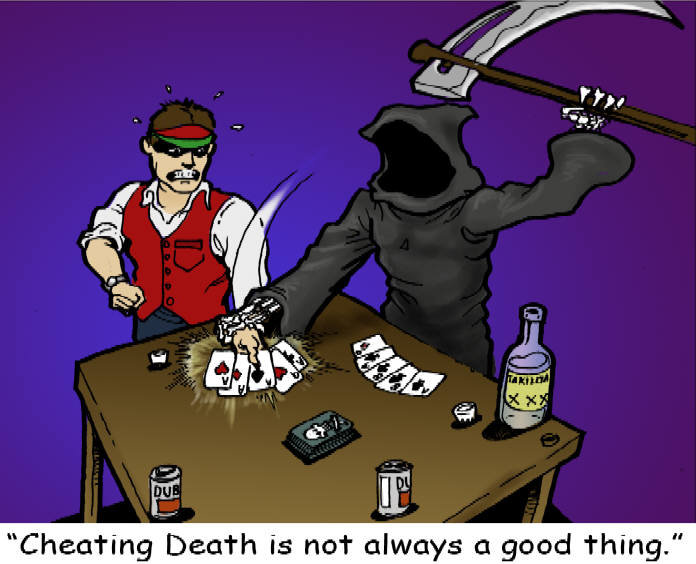 """Cheating death. If you would like to see more of our over 300 disturbing comics just click the link below.<br /> <a href=""""http://www.morningsquirt"""