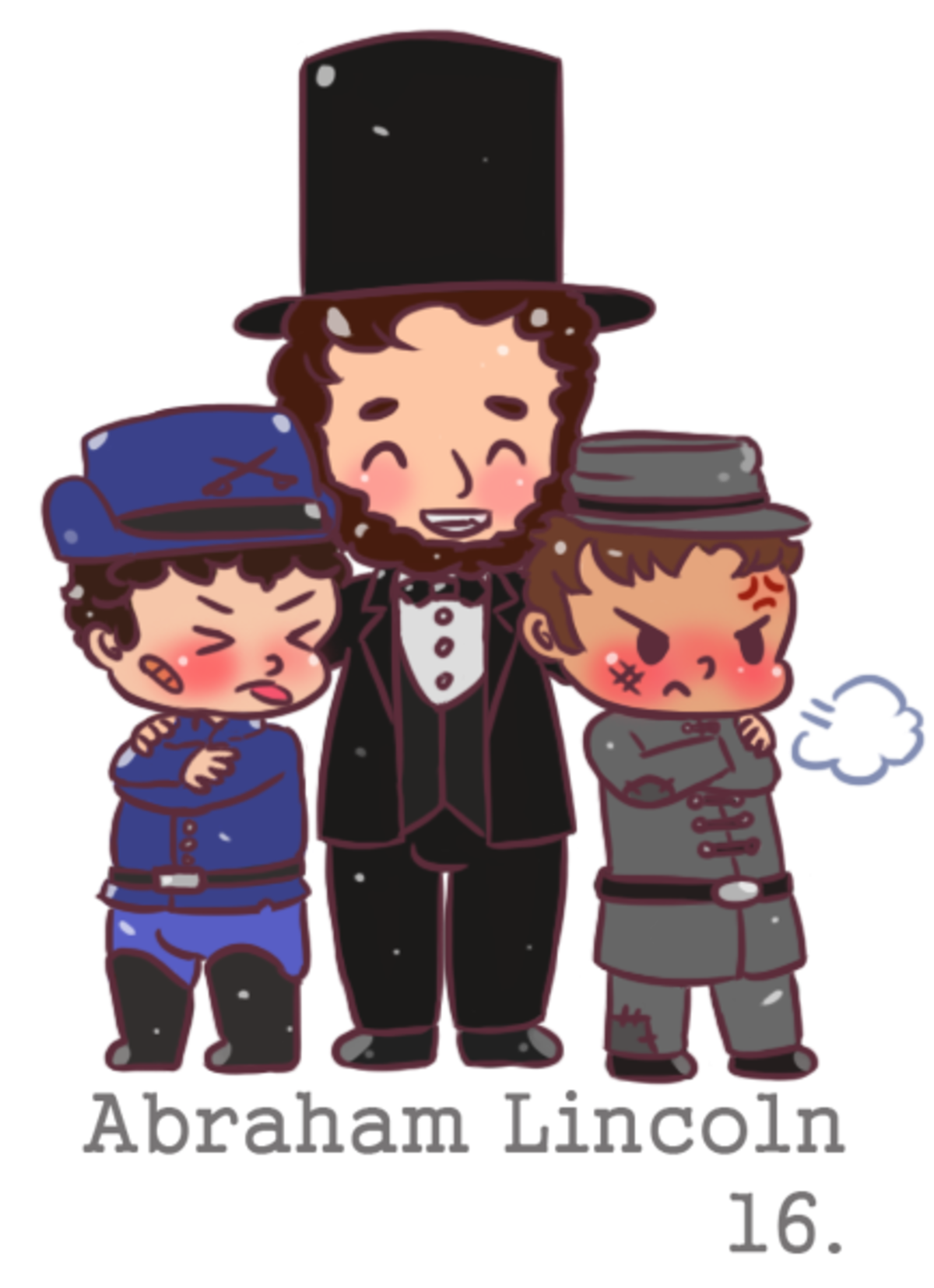 chibi Abraham Lincoln and chibi Andrew Johnson. He's hugging the Union and the Confederacy I really tried to capture the mood of the civil war when it was over.